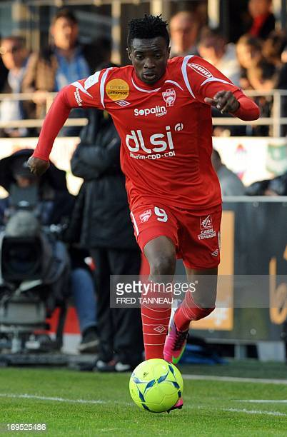 Nancy's Cameroonian forward Benjamin Moukandjo plays on May 26 2013 during a French L1 match against Brest at the Francis Le Ble stadium in the...