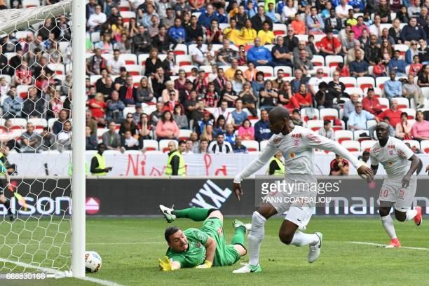 Nancy's French forward Junior Dale scores a goal during the French L1 Football match between OGC Nice and AS Nancy Lorraine at the Allianz Riviera...