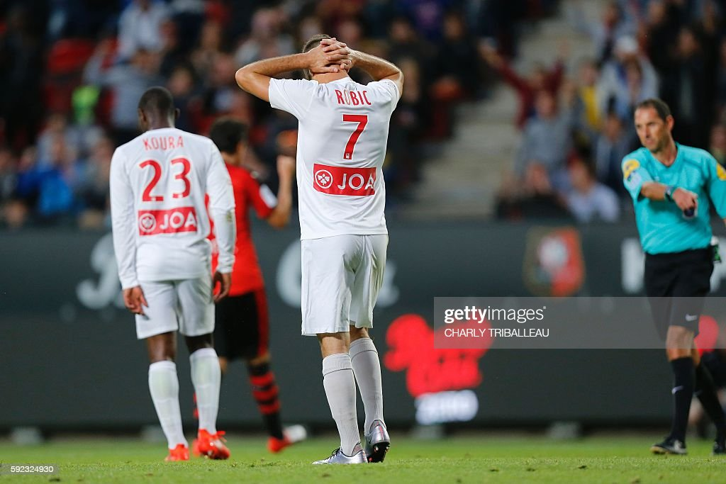Nancy's French midfielder Antony Robic after missing a penalty kick during the French L1 football match between Stade Rennais FC and AS Nancy...