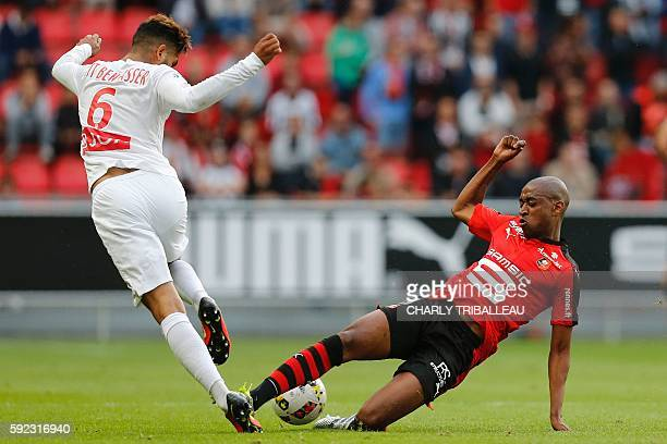 Nancy's French midfielder Youssef Aït Bennasser vies for the ball with Rennes' Cape Verdean midfielder Gelson Fernandes during the French Ligue 1...