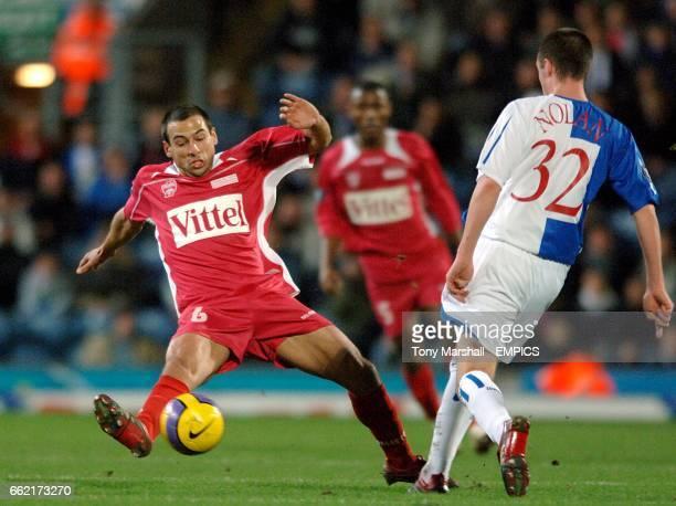 AS Nancy's Pascal Berenguer and Blackburn Rovers' Eddie Nolan