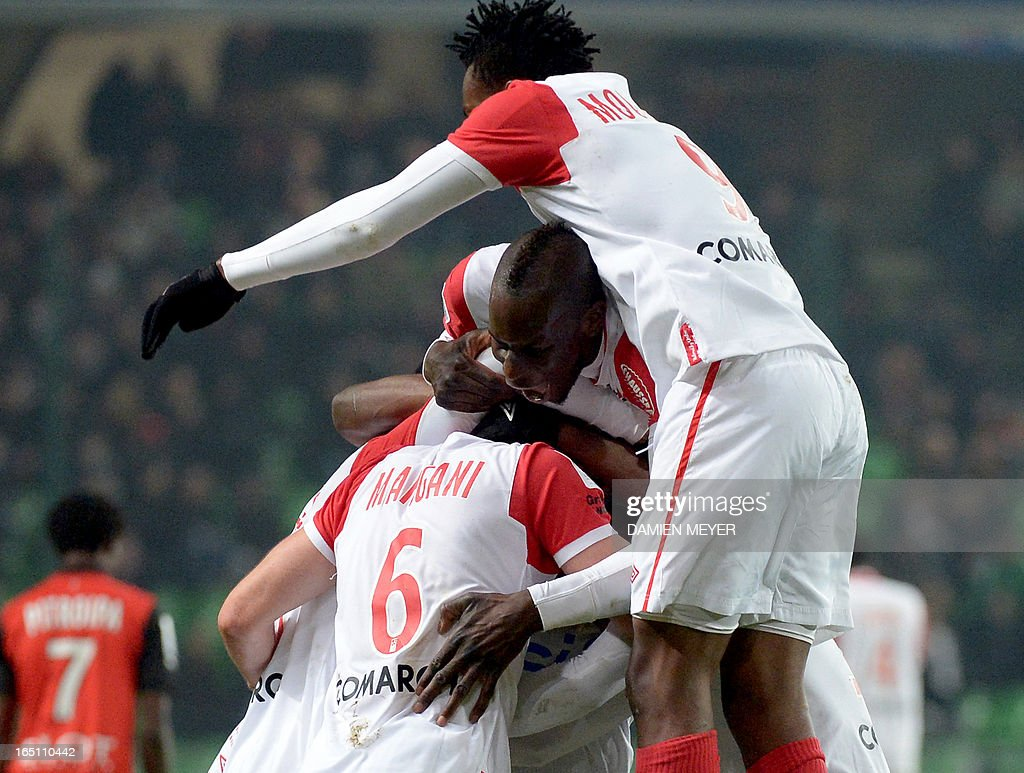 Nancy's players celebrate after French midfielder Thomas Ayasse scored during the French L1 football match Rennes vs Nancy on March 30, 2013 at the Route de Lorient stadium in Rennes, western France.