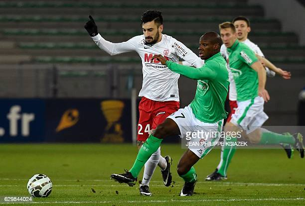 Nancy's Spanish defender Erick Cabaco vies with SaintEtienne's French midfielder Bryan Dabo during the French League Cup football match between...