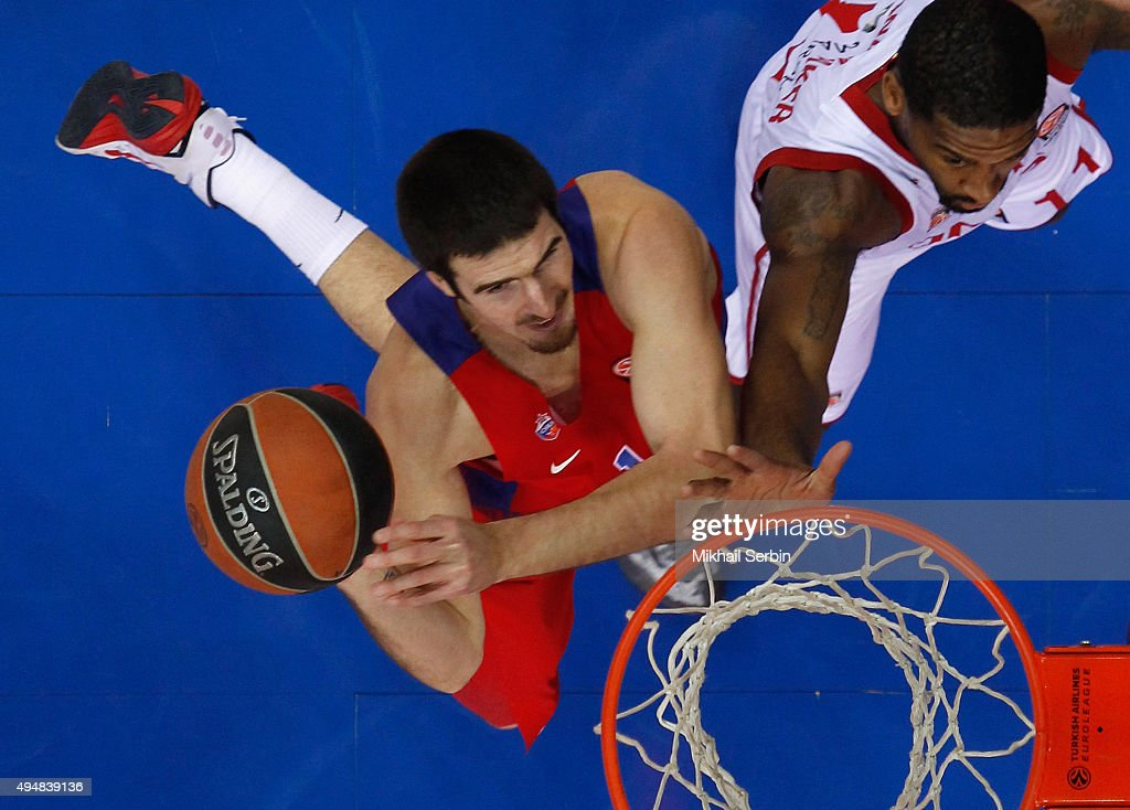 Nando De Colo #1 of CSKA Moscow competes with Bradley Wanamaker #11 of Brose Baskets Bamberg in action during the Turkish Airlines Euroleague Regular...