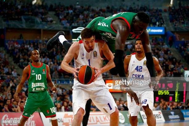 Nando de Colo #1 of CSKA Moscow competes with Ilimane Diop #12 of Baskonia Vitoria Gasteiz during the 2016/2017 Turkish Airlines EuroLeague Regular...