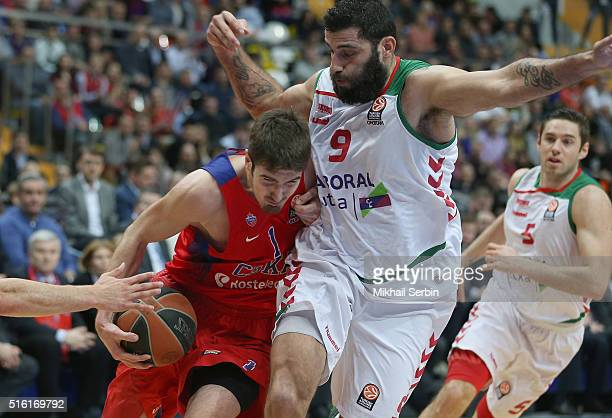 Nando De Colo #1 of CSKA Moscow competes with Ioannis Bourousis #9 of Laboral Kutxa Vitoria Gasteiz in action during the 20152016 Turkish Airlines...