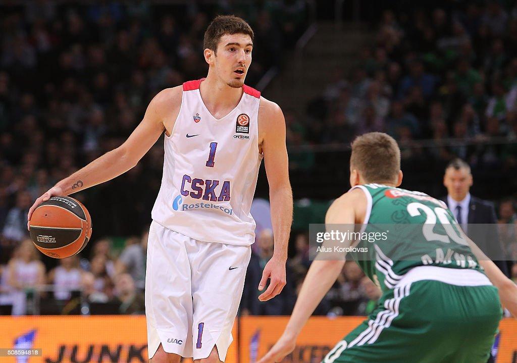 Nando De Colo #1 of CSKA Moscow competes with Kaspars Vecvagars #20 of Zalgiris Kaunas in action during the Turkish Airlines Euroleague Basketball...