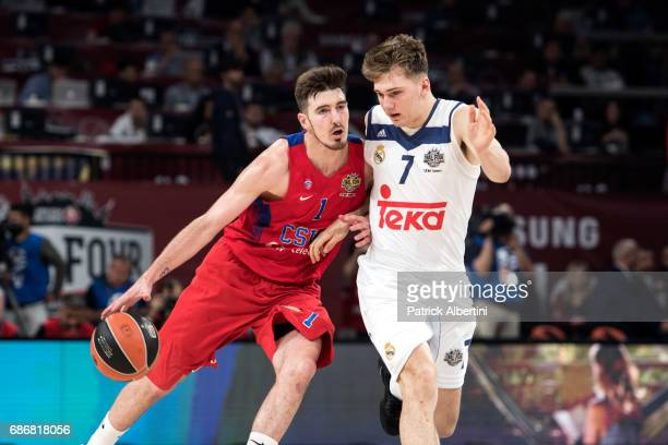Nando de Colo #1 of CSKA Moscow competes with Luka Doncic #7 of Real Madrid in action during Third Place Game 2017 Turkish Airlines EuroLeague Final...