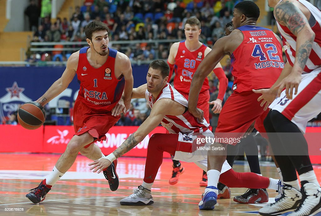 Nando De Colo #1 of CSKA Moscow competes with Stefan Jovic #24 of Crvena Zvezda Telekom Belgrade in action during the 20152016 Turkish Airlines...