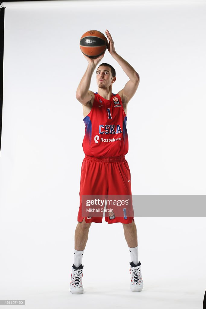 Nando De Colo #1 of CSKA Moscow during the 2015/2016 Turkish Airlines Euroleague Basketball Media Day at Universal Sports Hall CSKA on October 1 2015...