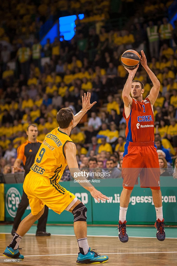 Nando De Colo #1 of CSKA Moscow in action during the 20142015 Turkish Airlines Euroleague Basketball Regular Season Date 5 game between Limoges CSP...