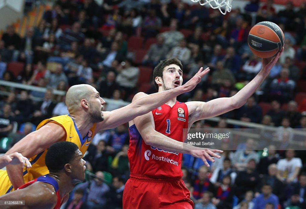 Nando De Colo #1 of CSKA Moscow in action during the 20152016 Turkish Airlines Euroleague Basketball Top 16 Round 8 game between CSKA Moscow v Khimki...