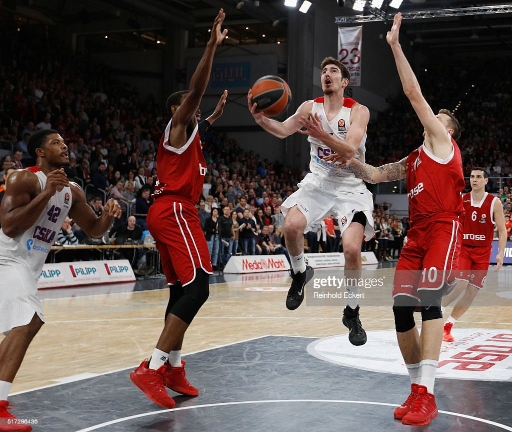 Nando De Colo #1 of CSKA Moscow in action during the 20152016 Turkish Airlines Euroleague Basketball Top 16 Round 12 game between Brose Baskets...