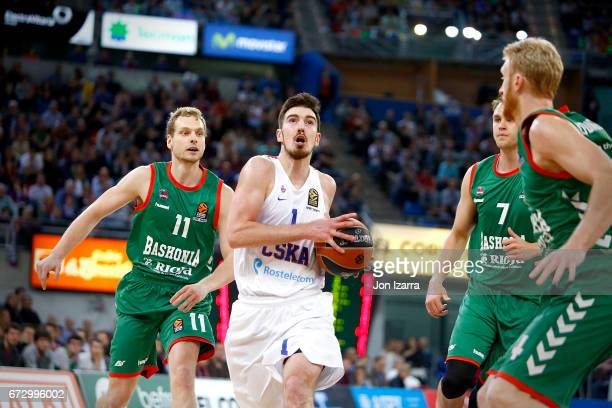 Nando de Colo #1 of CSKA Moscow in action during the 2016/2017 Turkish Airlines EuroLeague Playoffs leg 3 game between Baskonia Vitoria Gasteiz v...