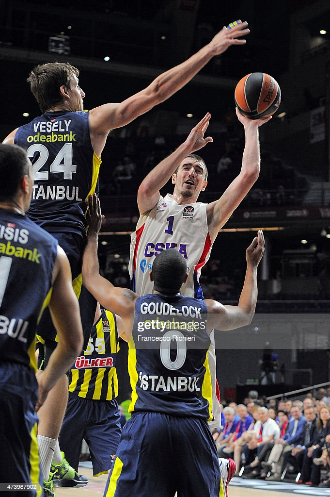 Nando De Colo #1 of CSKA Moscow in action during the Turkish Airlines Euroleague Final Four Madrid 2015 3rd Place Game between Fenerbahce Ulker...
