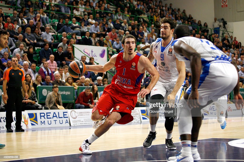 Nando De Colo #1 of CSKA Moscow in action during the Turkish Airlines Euroleague Regular Season date 2 game against Dinamo Banco di Sardegna Sassari...