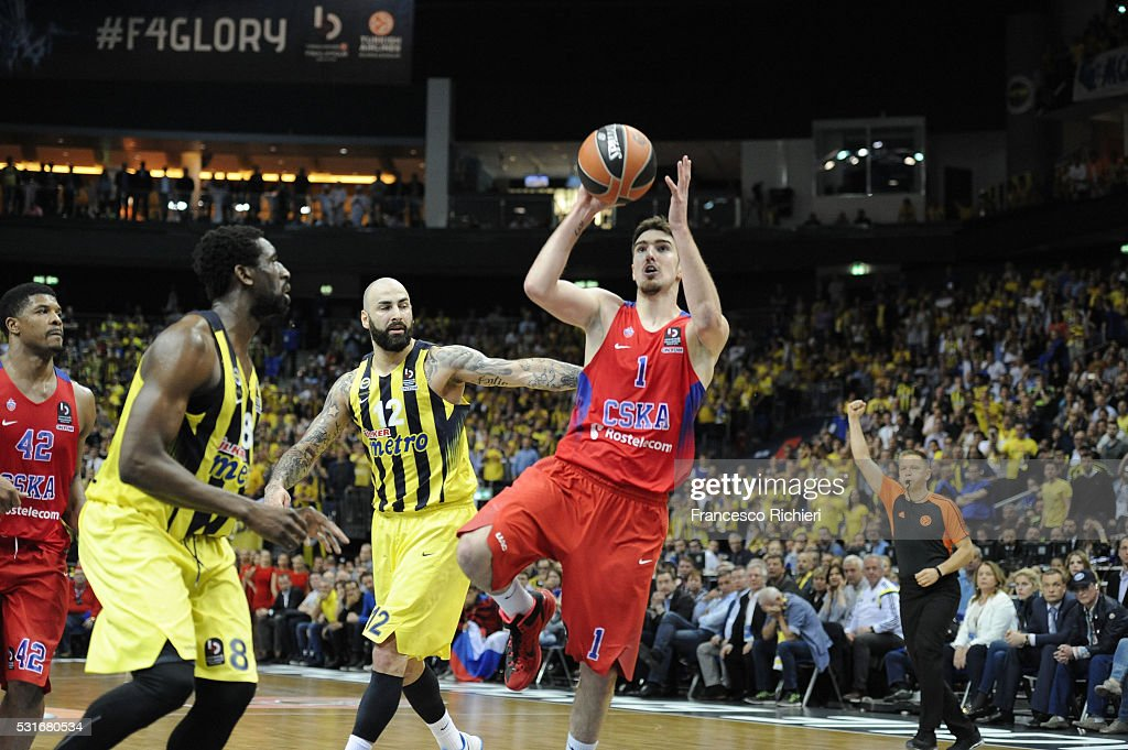 Nando De Colo #1 of CSKA Moscow in action during the Turkish Airlines Euroleague Basketball Final Four Berlin 2016 Championship game between...