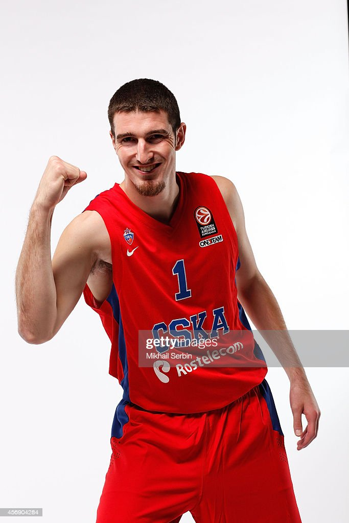 Nando De Colo #1 poses during the CSKA Moscow 2014/2015 Turkish Airlines Euroleague Basketball Media Day at Universal Sports Hall CSKA on October 6...