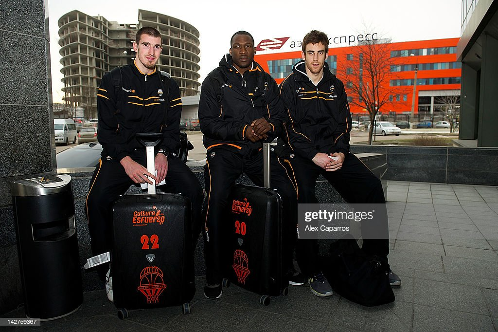 Nando De Colo, #22, <a gi-track='captionPersonalityLinkClicked' href=/galleries/search?phrase=Florent+Pietrus&family=editorial&specificpeople=713034 ng-click='$event.stopPropagation()'>Florent Pietrus</a>, #20 and <a gi-track='captionPersonalityLinkClicked' href=/galleries/search?phrase=Victor+Claver&family=editorial&specificpeople=5562510 ng-click='$event.stopPropagation()'>Victor Claver</a>, #9 of Valencia Basket arrive to Novotel Sheremetievo during the Eurocup Basketball Finals 2012 on April 12, 2012 in Khimki, Russia.