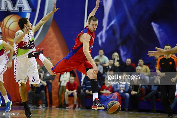 Nando De Colo of CSKA Moscow in action against his rival during their Euroleague Top16 group F basketball match in Moscow on January 8 2015