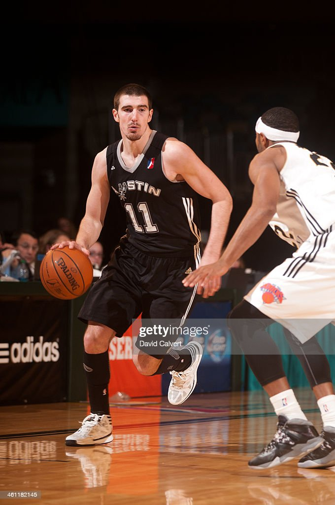 Nando De Colo of the Austin Toros dribbles the ball up the court against the Erie BayHawks during the 2014 NBA DLeague Showcase on January 6 2014 at...