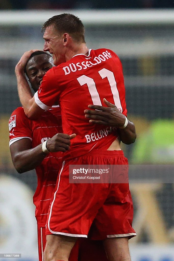 Nando Rafael and Axel Bellinghausen of Duesseldorf celebrate after the Bundesliga match between Fortuna Duesseldorf and Hamburger SV at Esprit-Arena on November 23, 2012 in Duesseldorf, Germany. The match between Duesseldorf and Hamburg ended 2-0.