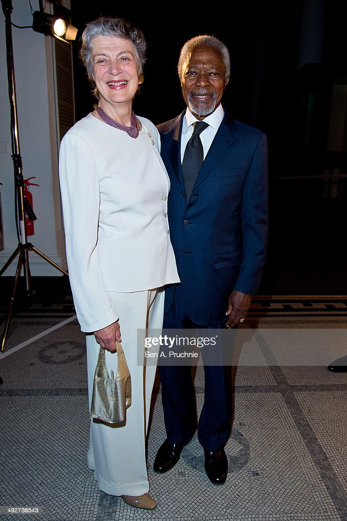 Nane Maria Annan and Kofi Annan attends the Prix Pictet award ceremony where Honorary President Kofi Annan presents CHF100,000 Prix Pictet ahead of the exhibition, opening to the public from 22 May at Victoria & Albert Museum on May 21, 2014 in London, England.