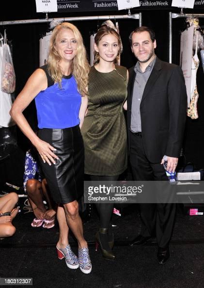 Nanette Lepore MaiLinh Lofgren and Michael Stuhlbarg pose backstage at the Nanette Lepore fashion show during MercedesBenz Fashion Week Spring 2014...