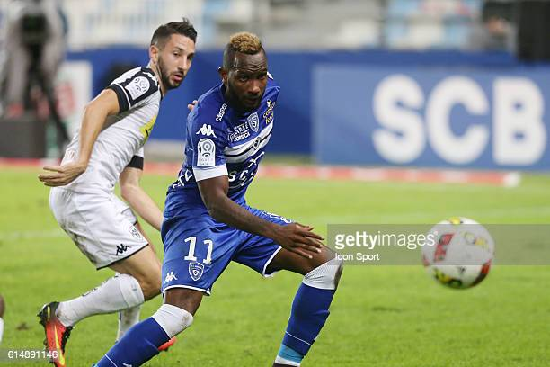 nangis lenny of bastia and santamaria baptiste of angers during the Ligue 1 match between SC Bastia and Angers SCO at Stade Armand Cesari on October...