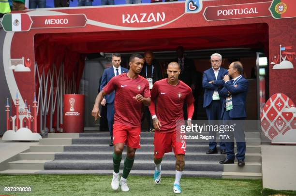 Nani and Ricardo Quaresma of Portugal talk prior to the FIFA Confederations Cup Russia 2017 Group A match between Portugal and Mexico at Kazan Arena...