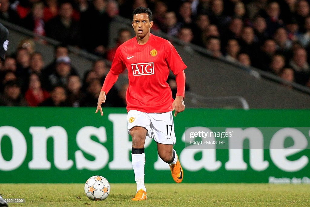 Nani during the 20072008 Champions League soccer match between Olympique Lyonnais and MAnchester United in Lyon
