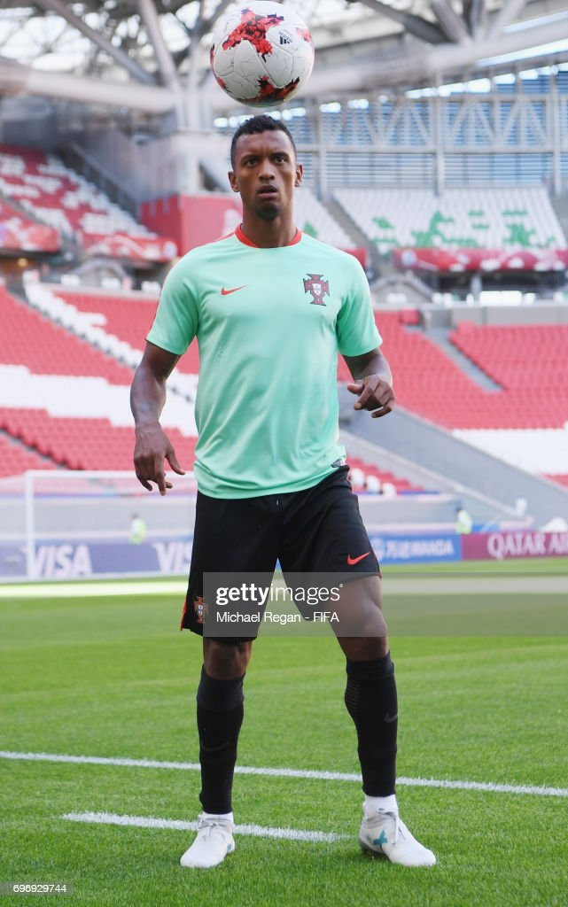 Nani looks on during the Portugal Training and Press Conference on June 17, 2017 in Kazan, Russia.