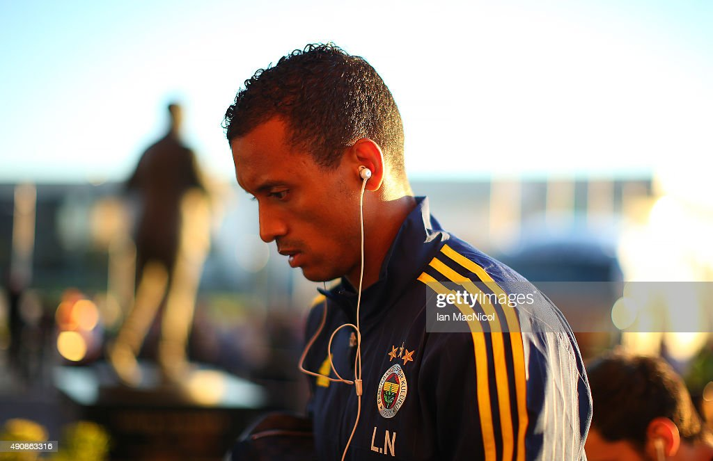 Nani of Fenerbahce arrives at the stadium during the UEFA Europa League match between Celtic FC and Fenerbahce SK at Celtic Park on October 01, 2015 in Glasgow, Scotland.