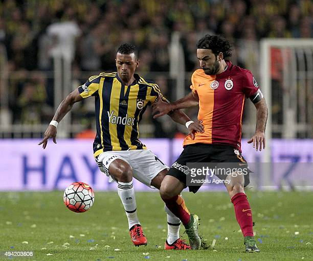Nani of Fenerbahce in action against Selcuk Inan of Galatasaray during the Turkish Spor Toto Super League football match between Fenerbahce and...