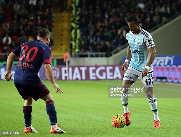Nani of Fenerbahce in action against Servet Balci of Mersin Idmanyurdu during the Turkish Spor Toto Super League football match between Mersin...