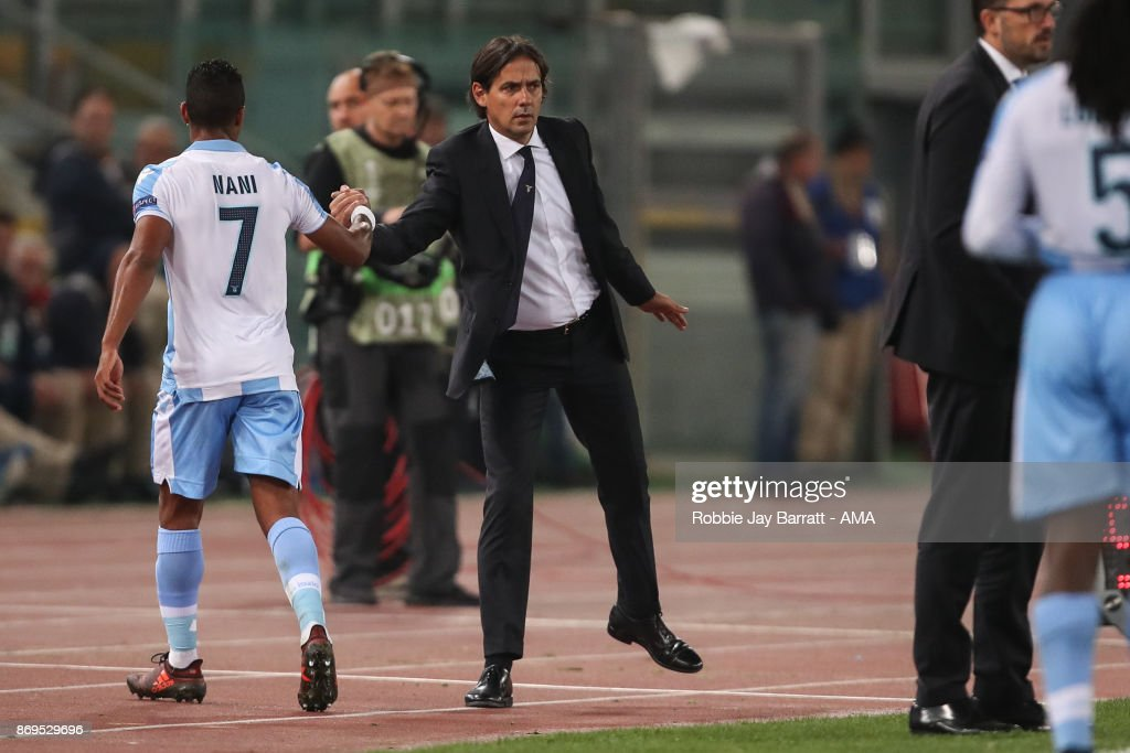 Nani of Lazio and Simone Inzaghi head coach / manager of Lazio during the UEFA Europa League group K match between Lazio Roma and OGC Nice at Stadio Olimpico on November 2, 2017 in Rome, Italy.