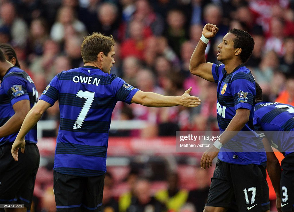 Nani of Manchester United celebrates after scoring a goal to make it 01