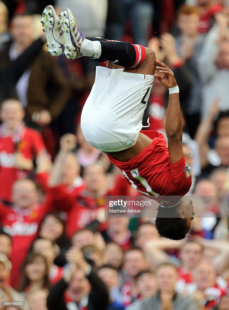 Nani of Manchester United celebrates after scoring a goal to make it 20
