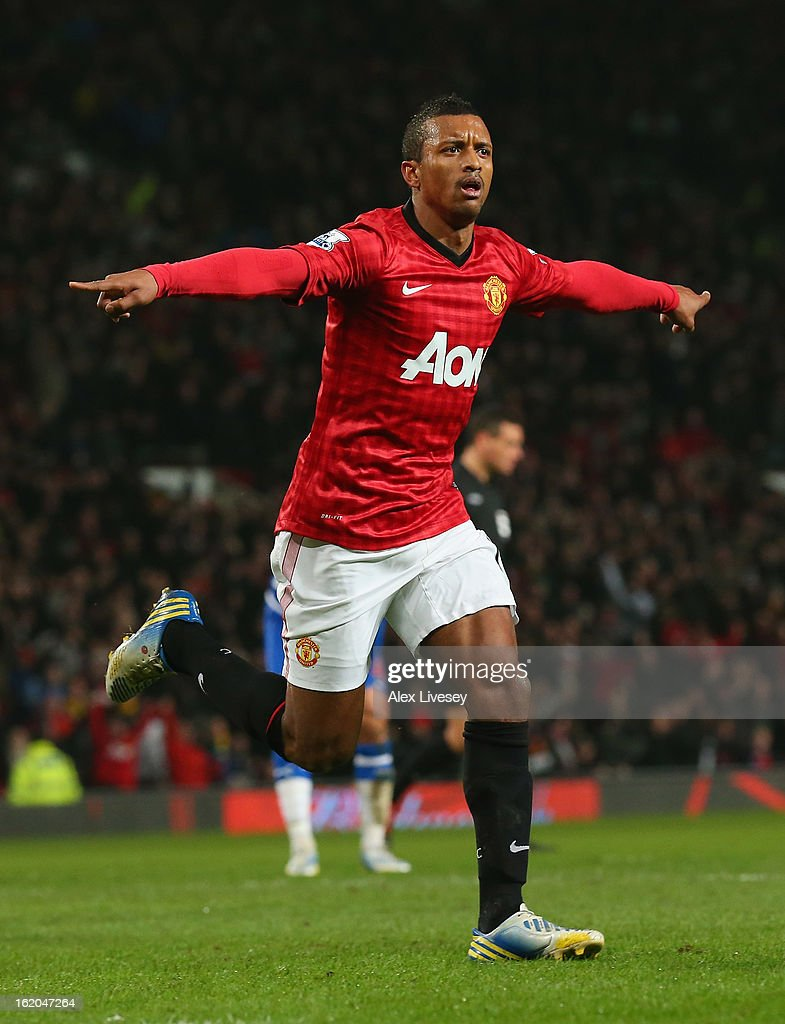 Nani of Manchester United celebrates after scoring the opening goal during the FA Cup Fifth Round match between Manchester United and Reading at Old Trafford on February 18, 2013 in Manchester, England.
