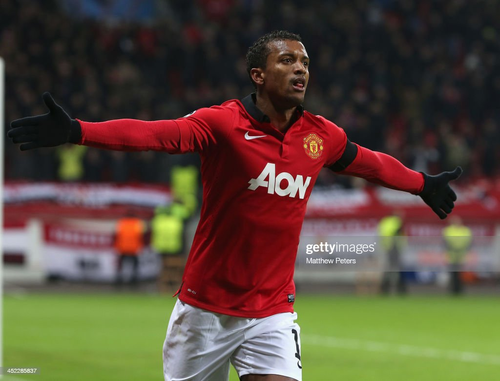 Nani of Manchester United celebrates scoring their fifth goal during the UEFA Champions League Group A match between Bayer Leverkusen and Manchester United at BayArena on November 27, 2013 in Leverkusen, North Rhine-Westphalia.