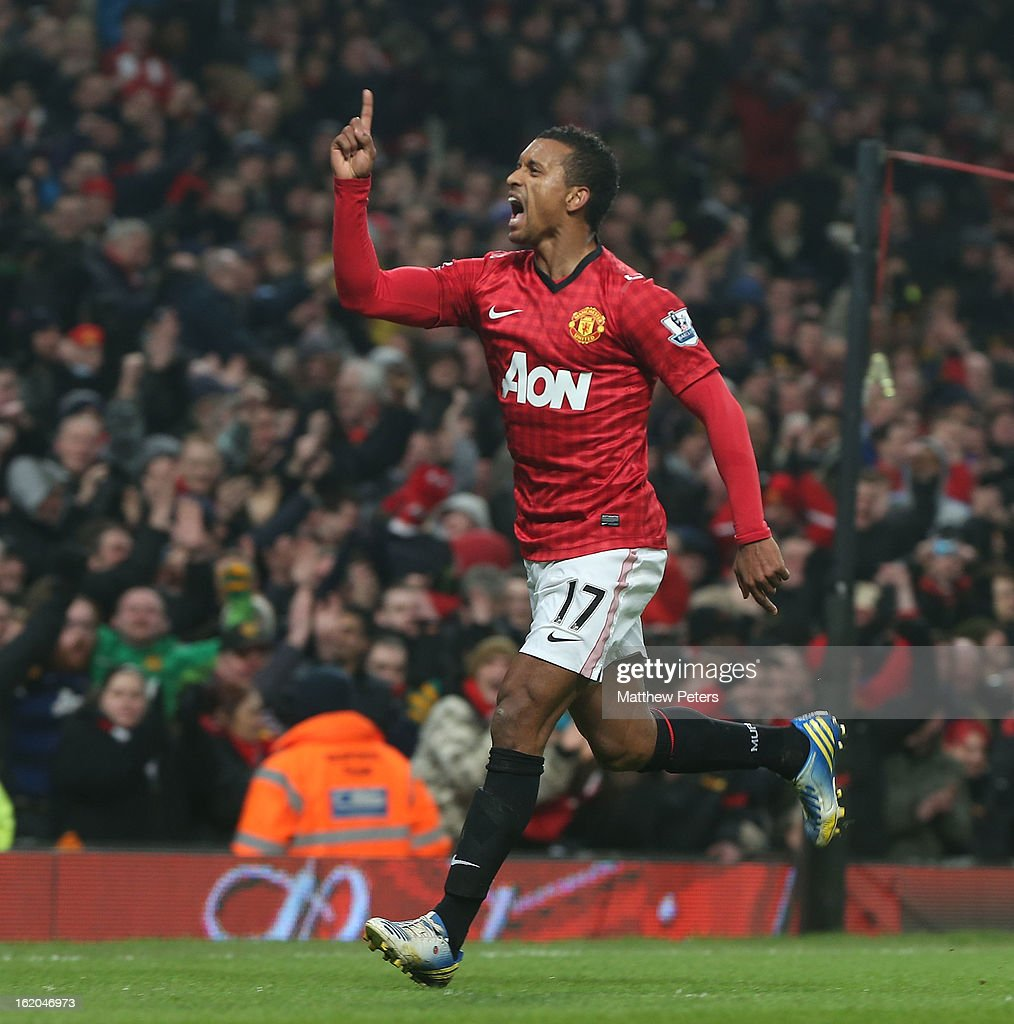 Nani of Manchester United celebrates scoring their first goal during the FA Cup Fifth Round match between Manchester United and Reading at Old Trafford on February 18, 2013 in Manchester, England.