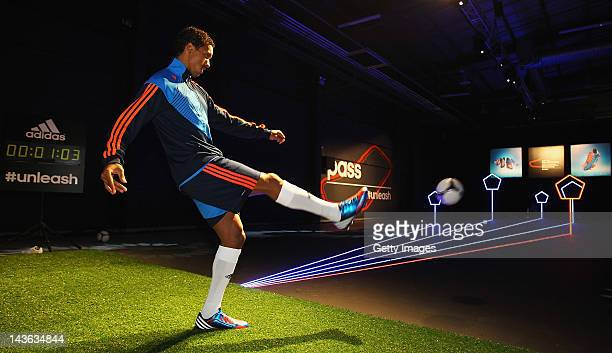 Nani of Manchester United in action at the launch of the new adidas Predator Lethal Zones football boot The boot designed with five deadly zones for...