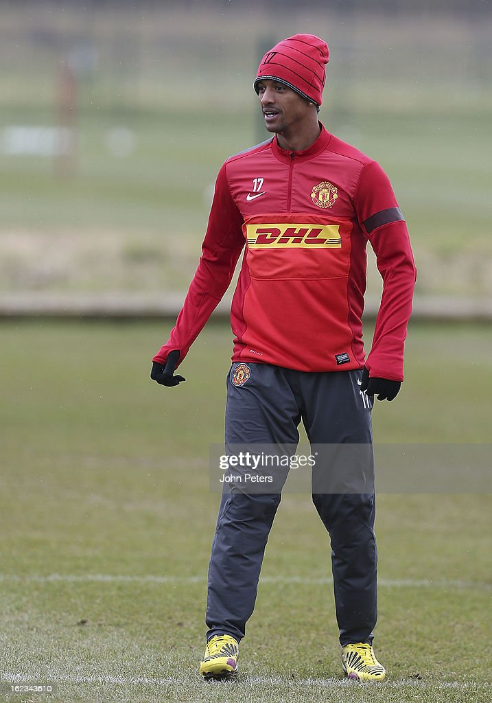 Nani of Manchester United in action during a first team training session at Carrington Training Ground on February 22, 2013 in Manchester, England.