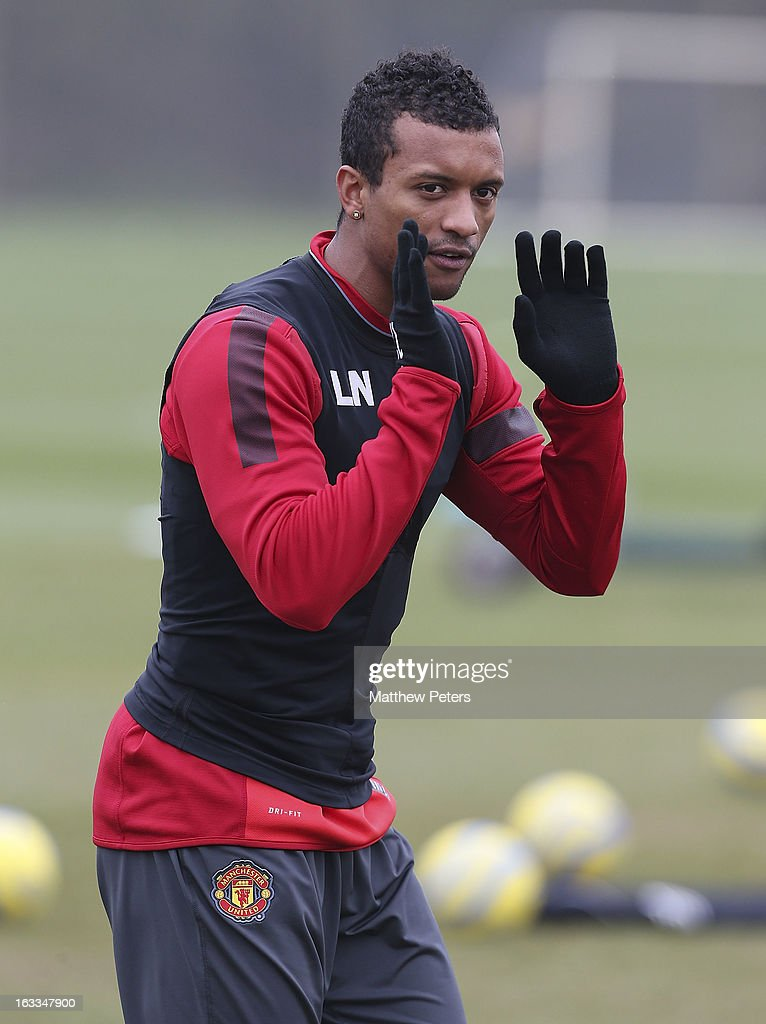 Nani of Manchester United in action during a first team training session at Carrington Training Ground on March 8, 2013 in Manchester, England.