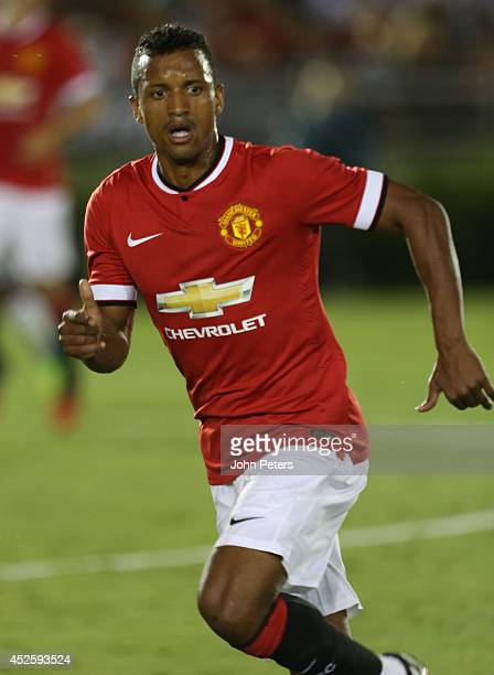 Nani of Manchester United in action during the preseason friendly match between LA Galaxy and Manchester United at Rose Bowl on July 23 2014 in...