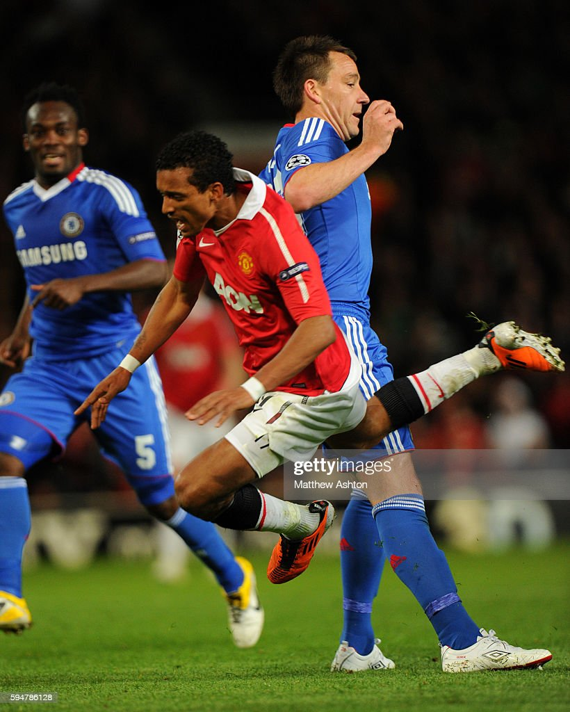 Nani of Manchester United is fouled by John Terry of Chelsea