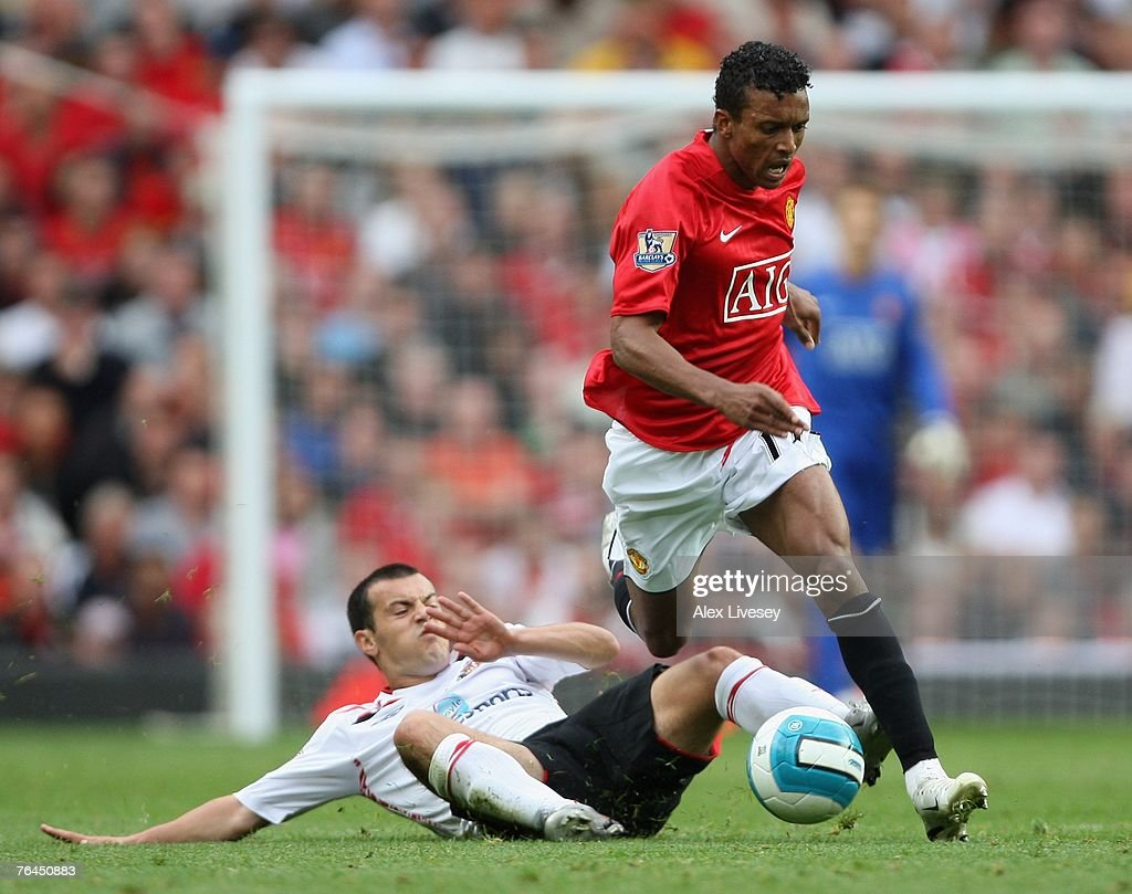 Nani of Manchester United is tackled by Ross Wallace of Sunderland during the Barclays Premier League match between Manchester United and Sunderland at Old Trafford on September 1, 2007 in Manchester, England.