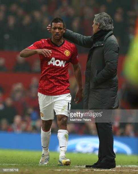 Nani of Manchester United reacts to being sent off during the UEFA Champions League match between Manchester United and Real Madrid at Old Trafford...