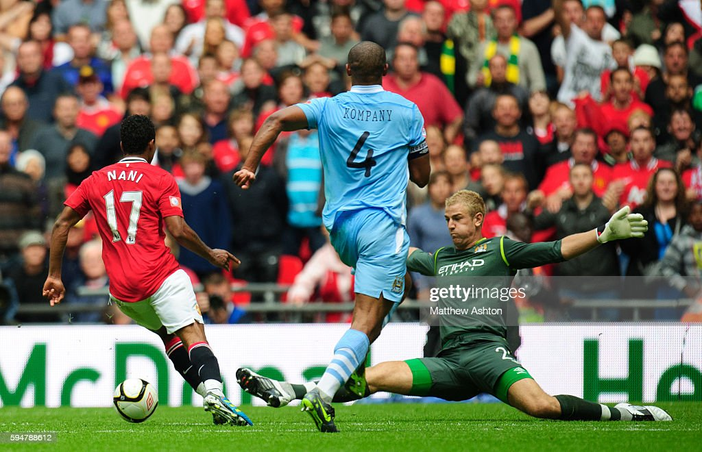 Nani of Manchester United scores a goal to make it 32 past Joe Hart of Manchester City
