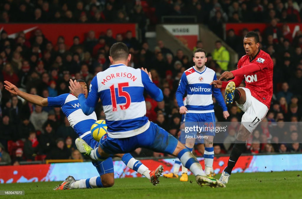 Nani of Manchester United scores the opening goal during the FA Cup Fifth Round match between Manchester United and Reading at Old Trafford on February 18, 2013 in Manchester, England.